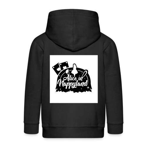 Alice in Nappyland TypographyWhite with background - Kids' Premium Zip Hoodie