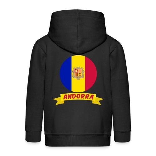flag of andorra t shirt design banner ribbon - Felpa con zip Premium per bambini