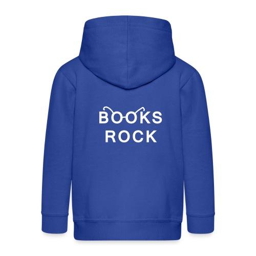 Books Rock White - Kids' Premium Zip Hoodie