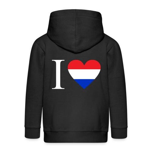 Ik hou van Nederland   Hart met rood wit blauw - Kinderen Premium jas met capuchon