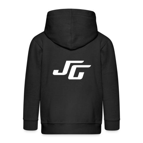 JG Logo weiss - Kinder Premium Kapuzenjacke