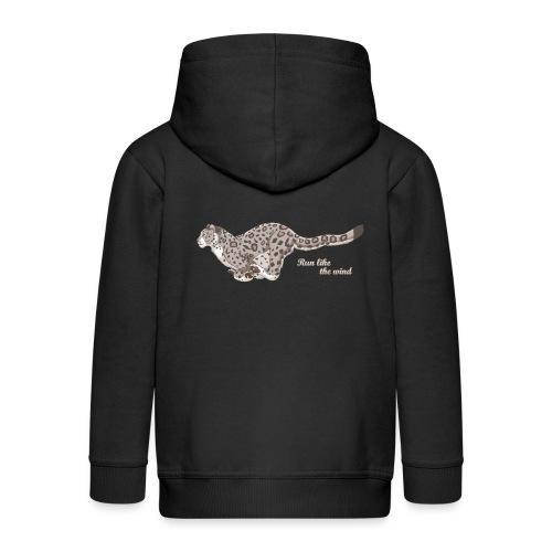 Snow Leopard: Run Like the Wind - Rozpinana bluza dziecięca z kapturem Premium