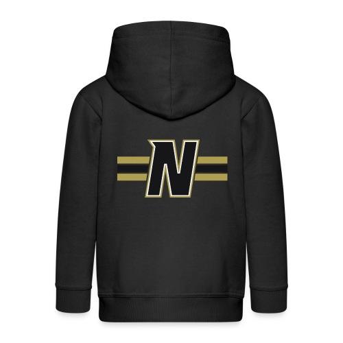 Nordic Steel Black N with stripes - Kids' Premium Zip Hoodie