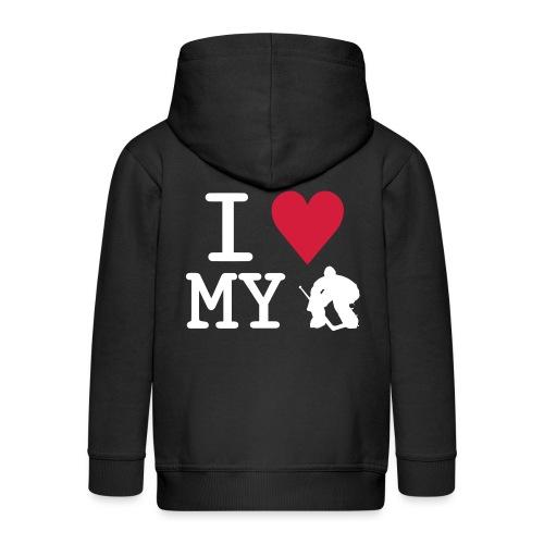 I Love My Hockey Goalie - Kids' Premium Zip Hoodie
