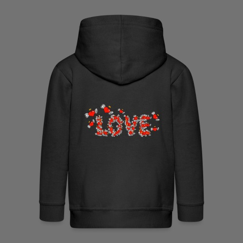 Flying Hearts LOVE - Kids' Premium Zip Hoodie