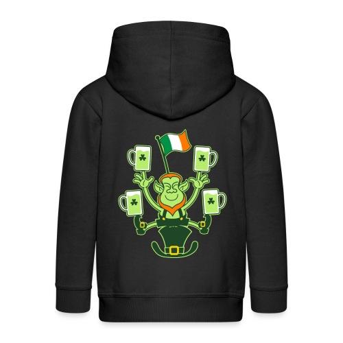 Leprechaun Juggling Beers and Irish Flag - Kids' Premium Zip Hoodie