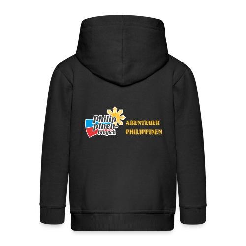Philippinen-Blog Logo deutsch schwarz/orange - Kinder Premium Kapuzenjacke