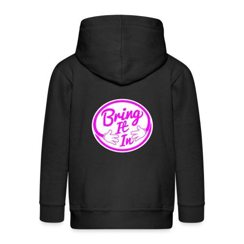 BII Pink font png - Kids' Premium Zip Hoodie