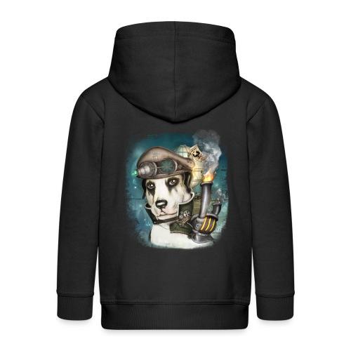 Steampunk Dog #2b - Felpa con zip Premium per bambini