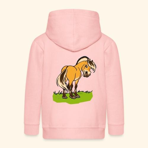 Freundliches Fjordpferd (Ohne Text) Weisse Umrisse - Veste à capuche Premium Enfant