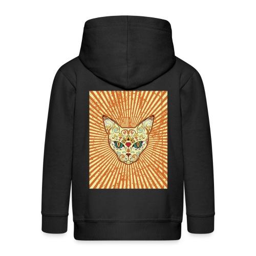 cat calavera grunge effect t shirt design - Felpa con zip Premium per bambini