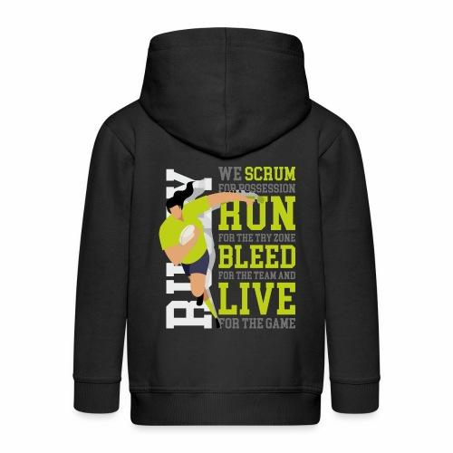 MarPlo Scrum Run Live Green W - Felpa con zip Premium per bambini