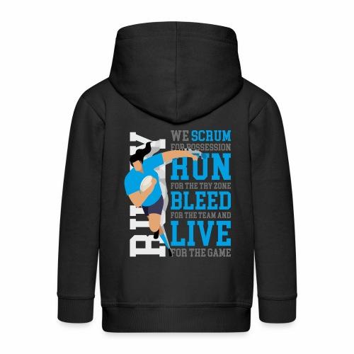 MarPlo Scrum Run Live cyan W - Felpa con zip Premium per bambini