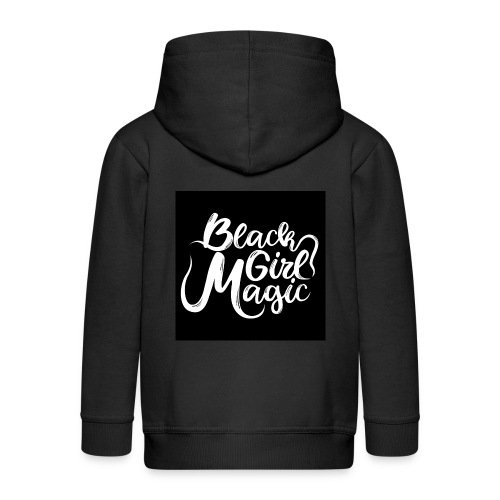 Black Girl Magic 1 White Text - Kids' Premium Zip Hoodie