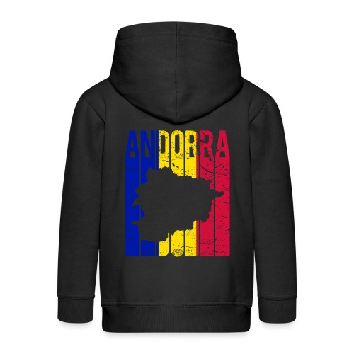 stretched flag of Andorra t-shirt design map - Felpa con zip Premium per bambini