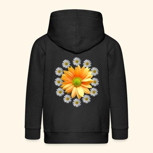 Margeriten mit einer orangen Chrysantheme, Blumen - Kinder Premium Kapuzenjacke