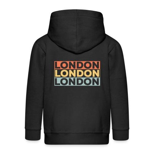 Vintage London Souvenir - Retro Streifen London - Kinder Premium Kapuzenjacke