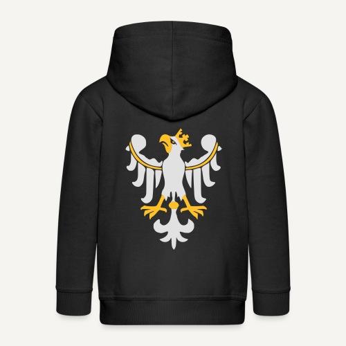 Orzeł Piastowski - Rozpinana bluza dziecięca z kapturem Premium