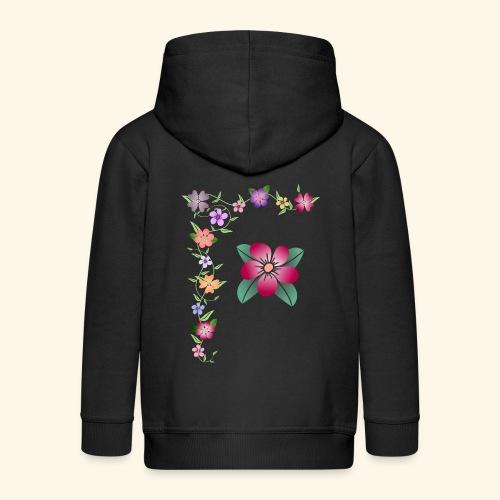 Blumenranke, Blumen, Blüten, floral, blumig, bunt - Kinder Premium Kapuzenjacke