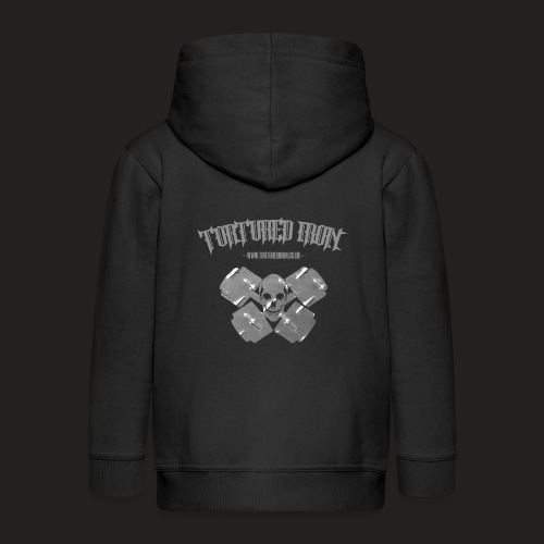 checekerd skull.png - Kids' Premium Zip Hoodie