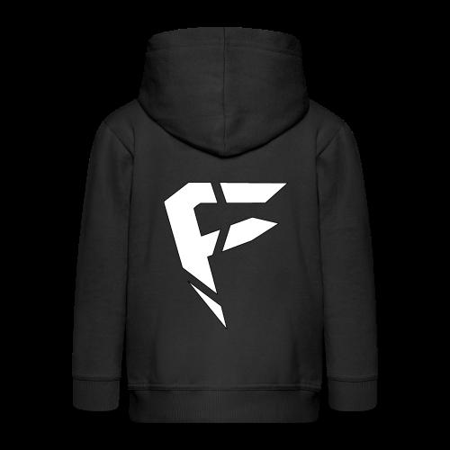 F Logo in Weiß - Kinder Premium Kapuzenjacke