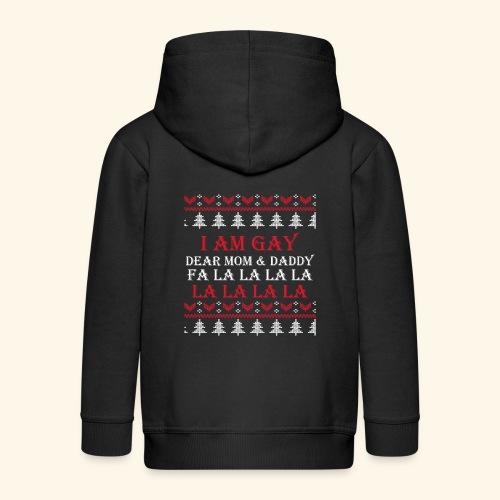 Gay Christmas sweater - Rozpinana bluza dziecięca z kapturem Premium