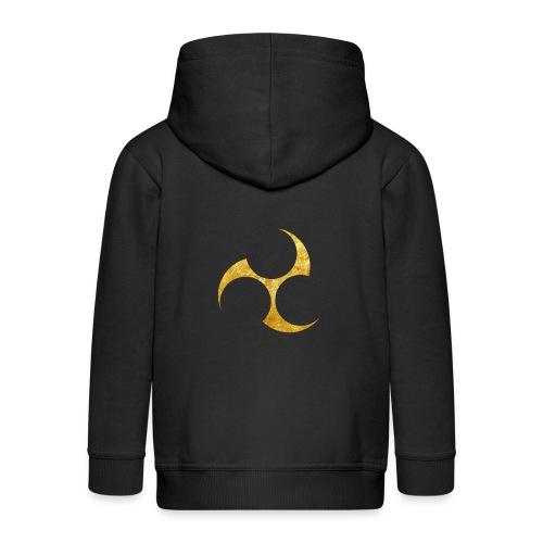 Kobayakawa Mon Japanese clan gold on black - Kids' Premium Hooded Jacket