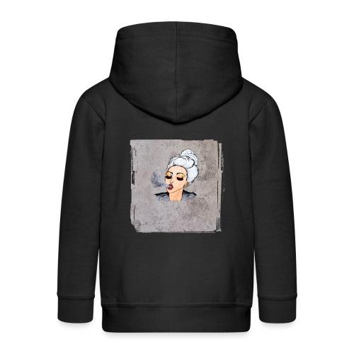 Girl blowing air or else - Kids' Premium Hooded Jacket