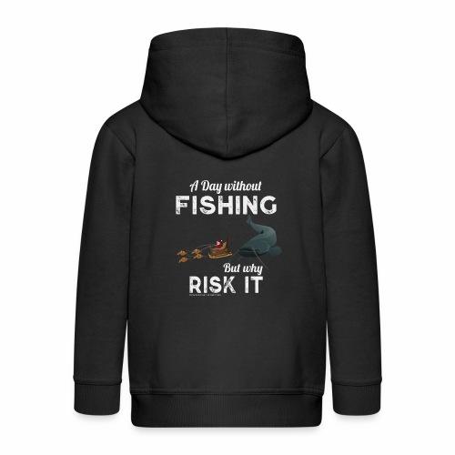A Day Fishing Tag Angeln Weihnachten Wels Wurm - Kinder Premium Kapuzenjacke
