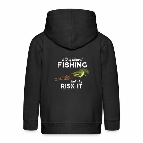 A Day Fishing Tag Angeln Weihnachten Hecht Weiß - Kinder Premium Kapuzenjacke