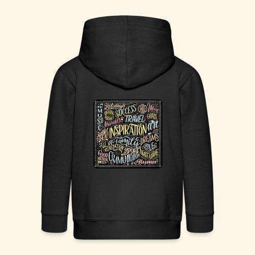 Mélange de typographies Positives Multicolores - Veste à capuche Premium Enfant