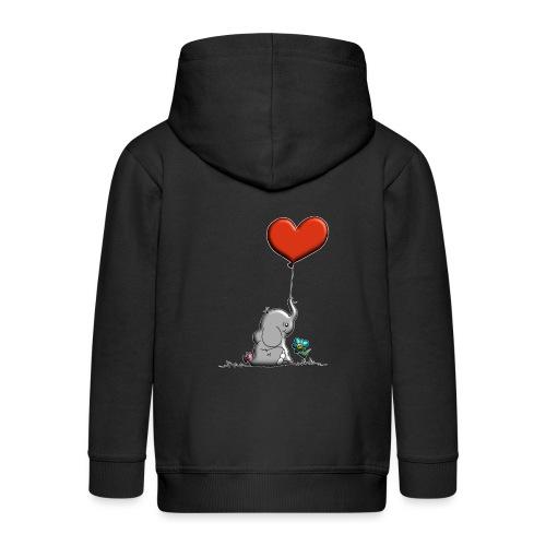 Éléphant, coeur rouge, der Elefant - Veste à capuche Premium Enfant