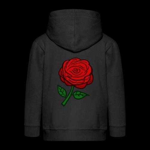 Rote Rose - Kinder Premium Kapuzenjacke