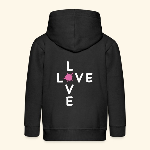 LOVE Cross white klecks pink 001 - Kinder Premium Kapuzenjacke