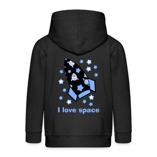 I love space - Felpa con zip Premium per bambini
