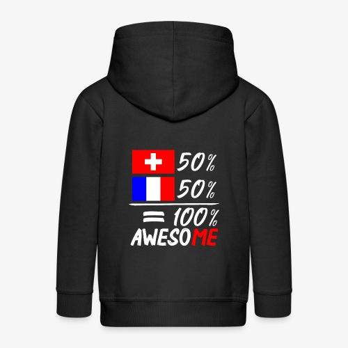 50% Schweiz 50% Frankreich - Kinder Premium Kapuzenjacke