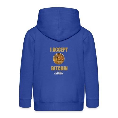 I accept bitcoin - Felpa con zip Premium per bambini
