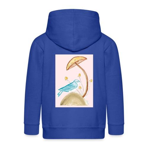 fungo con uccello - Felpa con zip Premium per bambini