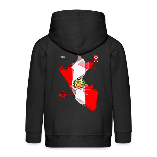 Mapa del Peru, Bandera und Escarapela - Kinder Premium Kapuzenjacke