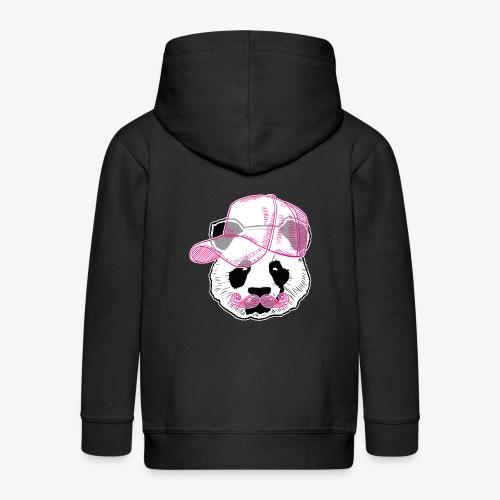 Panda - Pink - Cap - Mustache - Kinder Premium Kapuzenjacke