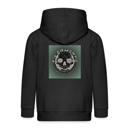 Rigormortiz Dark Solid Background Logo Design - Kids' Premium Hooded Jacket
