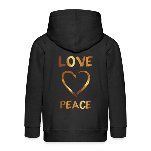 Love and Peace - Kids' Premium Zip Hoodie