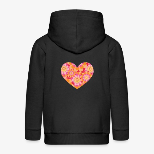 Floral Hearts - Kids' Premium Zip Hoodie