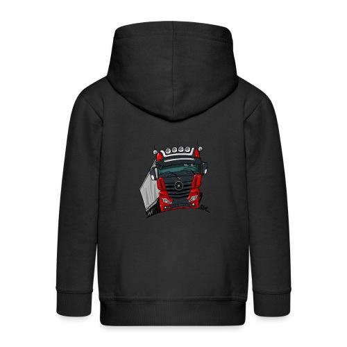 0807 M truck zwart rood - Kinderen Premium jas met capuchon