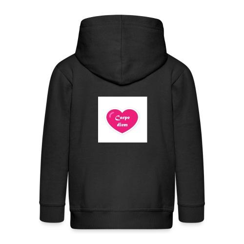Spread shirt hjärta carpe diem vit text - Premium-Luvjacka barn