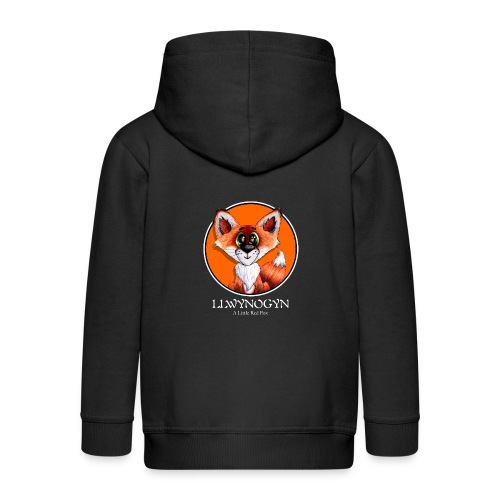 llwynogyn - a little red fox (white) - Kids' Premium Zip Hoodie