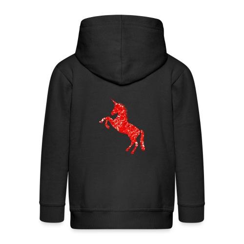 unicorn red - Rozpinana bluza dziecięca z kapturem Premium