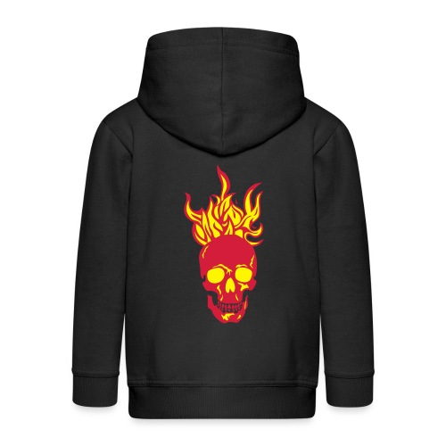 skull tete mort flamme fire dead head fe - Veste à capuche Premium Enfant