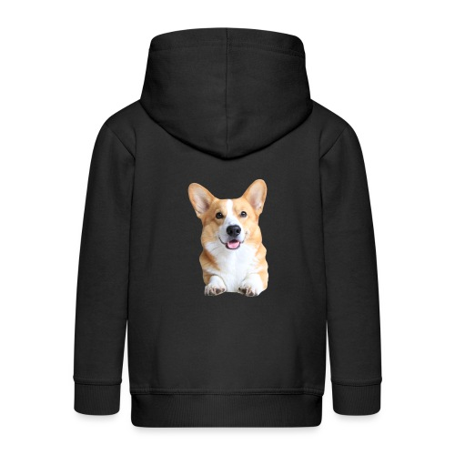 Topi the Corgi - Frontview - Kids' Premium Hooded Jacket