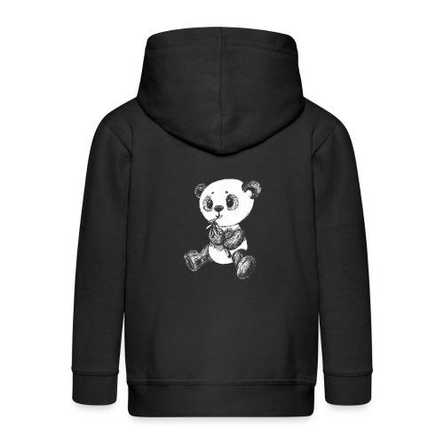 Panda bjørn hvid scribblesirii - Premium hættejakke til børn